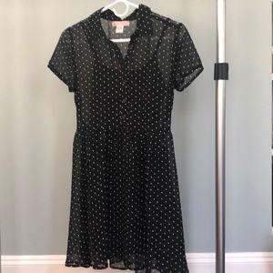 Black with white polka dot sheer dress